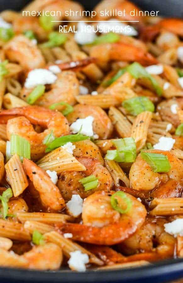 Have a complete meal on the table in less than 20 minutes with this quick and easy Mexican Shrimp Skillet Dinner!