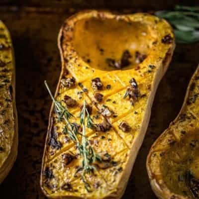 Roasted Butternut Squash with Maple Pecans