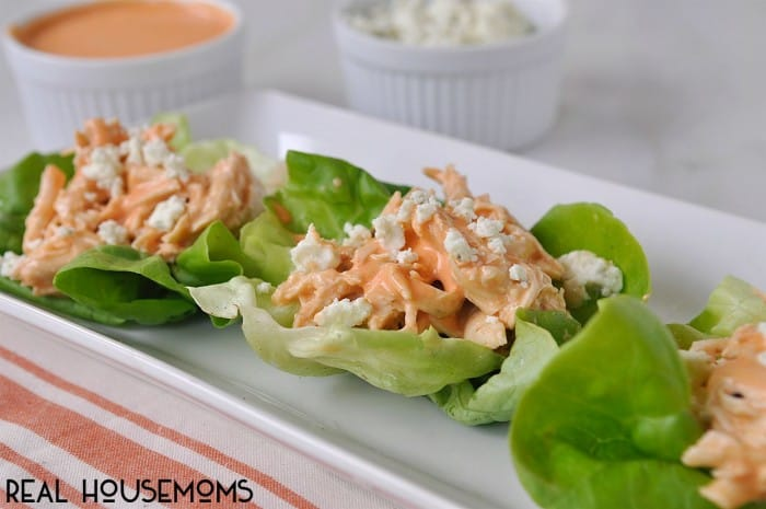 Are you ready for some football!? You will be after you taste these slow cooker buffalo chicken lettuce wraps!
