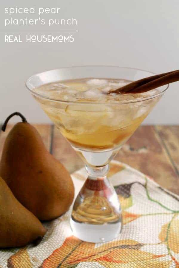 Spiced rum and sweet pears come together in this perfect for fall Spiced Pear Planter's Punch!