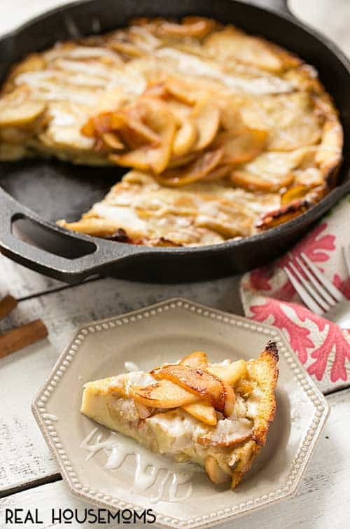 This giant Apple Cinnamon Puffed Pancake bakes in the oven - no more standing at a hot stove flipping dozens of pancakes. It's the perfect fall breakfast and the cinnamon glaze takes it over the top!