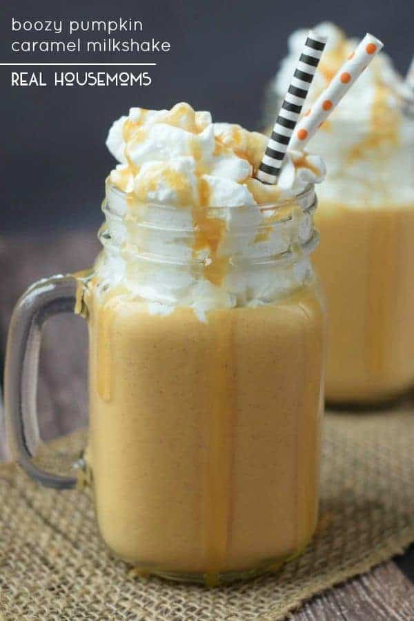 This Boozy Pumpkin Caramel Milkshake is like a little kid treat for your grown up self. So easy to make, so good!