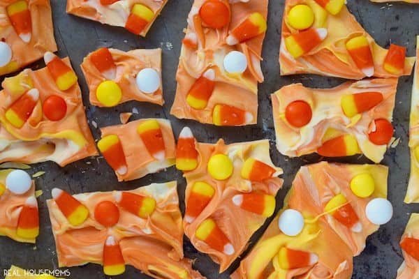 This Candy Corn Bark comes together in a snap and your kids will love it! So fun for Halloween!