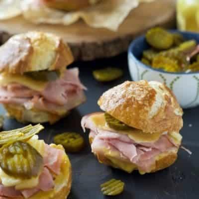 Gruyere, Jalapeño and Ham Sandwiches on Pretzel Bread