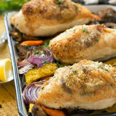 This One Pan Parmesan Chicken with Vegetables is a quick and healthy meal with less clean up!