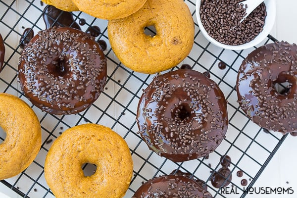 Baked Chocolate Frosted Pumpkin Donuts are a delicious and fun way to start your mornings this fall!