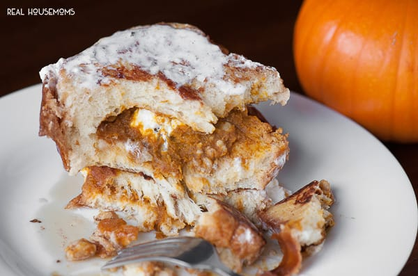 Starting a cool crisp fall morning off with delicious Stuffed Pumpkin French Toast for breakfast is a real treat your entire family will love!