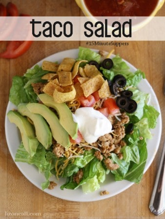 Quick and delicious taco salad in 15 minutes. A family favorite @lizoncall.com