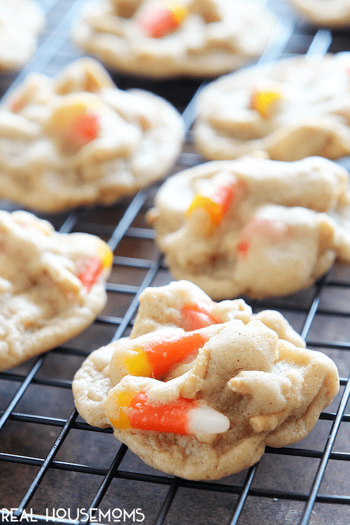 Candy Corn Crunch Cookies are a great Halloween dessert idea that everyone is sure to love!
