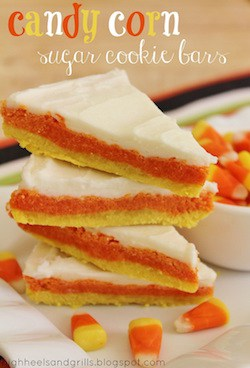 Candy Corn Sugar Cookie Bars - High Heels and Grills