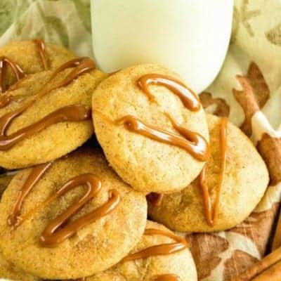 Caramel Pumpkin Snickerdoodle Cookies