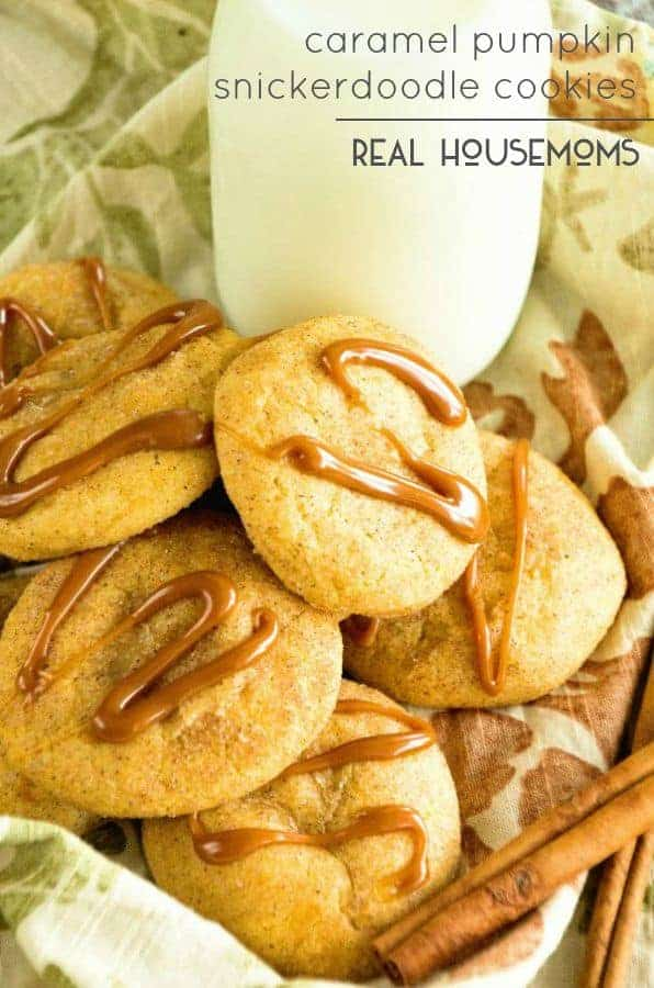 Caramel Pumpkin Snickerdoodle Cookies are the perfect fall time cookie! Soft pumpkin snickerdoodle cookies stuffed with caramel and then drizzled with caramel to top it off!