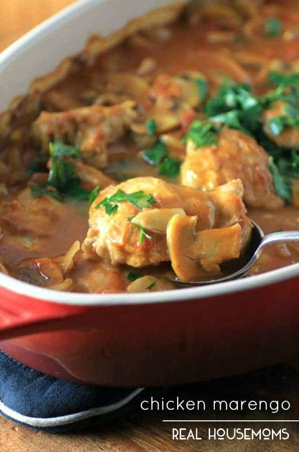 Chicken Marengo is an easy French dish of chicken, tomatoes, mushrooms and garlic that slowly simmers in the oven, giving the chicken a perfect tender finish!