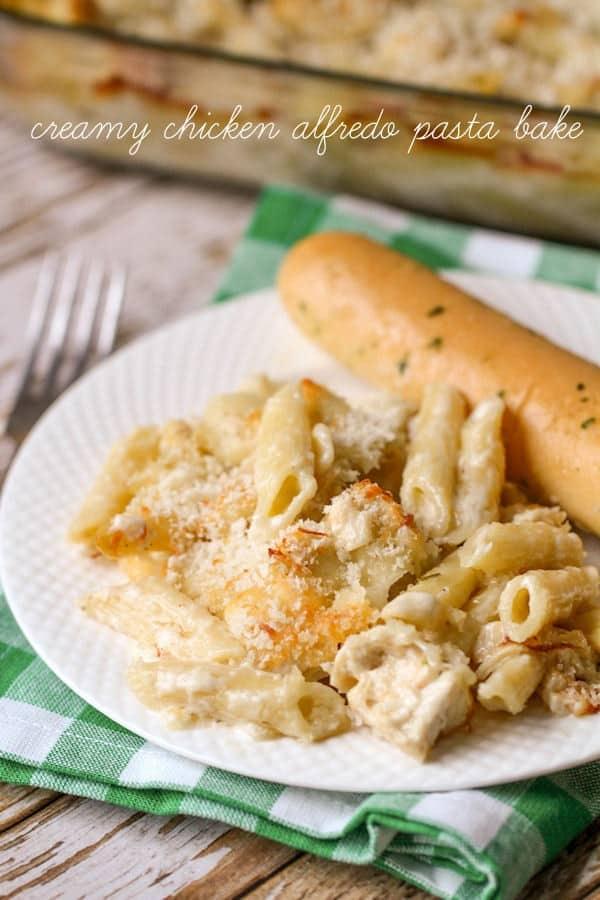 Creamy Chicken Alfredo Pasta Bake - Lil' Luna