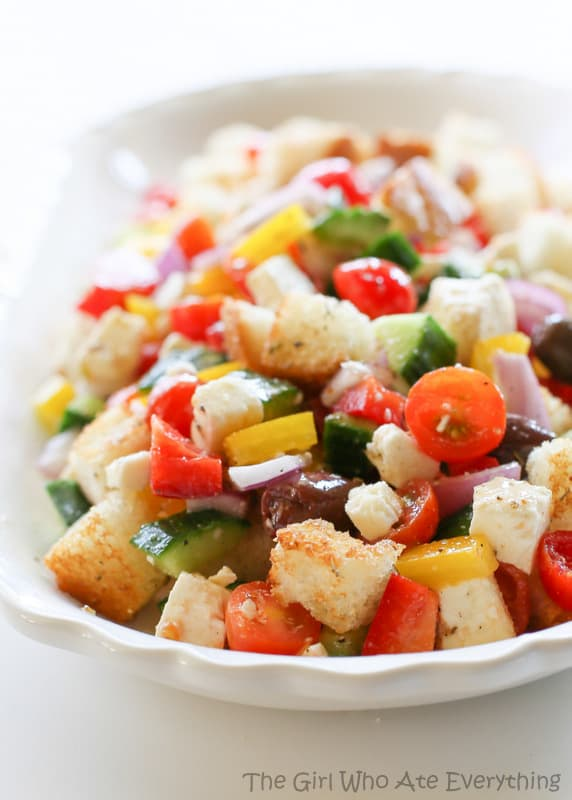 Greek Panzanella Salad - The Girl Who Ate Everything