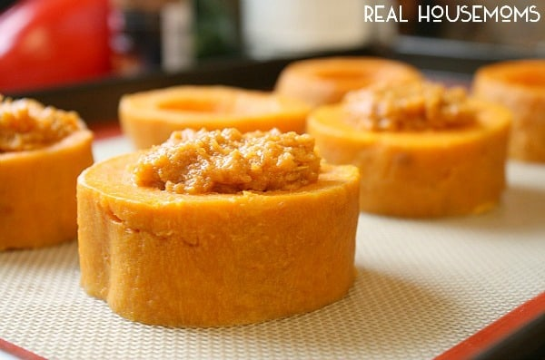 Slices of sweet potato filled for Mini Sweet Potato Casseroles