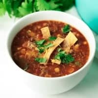 Dinner is served in just 30 minutes when you make this deliciously flavorful One Pot Enchilada Soup!