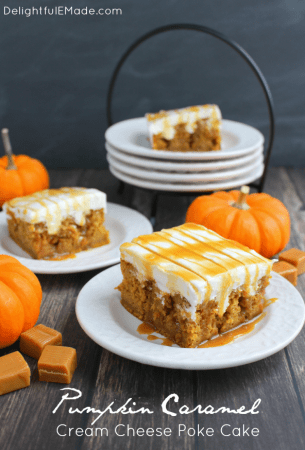 Pumpkin Caramel Cream Cheese Poke Cake by Delightful E Made