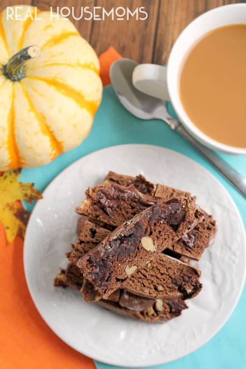 These Chocolate Pumpkin Walnut Biscotti are perfect for dunking into that warm cup of coffee on a fall morning!