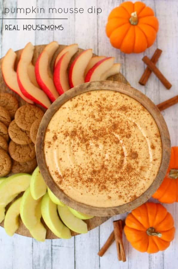 The perfect fall party appetizer, this sweet Pumpkin Mousse Dip is fantastic for any holiday, gathering or get-together!
