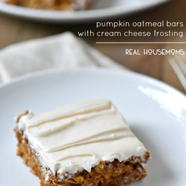 Pumpkin Oatmeal Bars with Cream Cheese Frosting are an acceptable breakfast, right?!