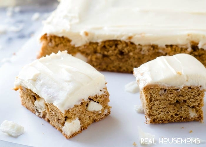 Pumpkin Spice White Chocolate Blondies are my favorite kind of fall treat! Easy to make for a crowd and with lots of frosting!