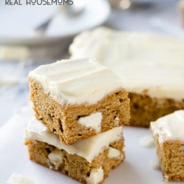Pumpkin Spice White Chocolate Blondies with Brown Butter Maple Frosting