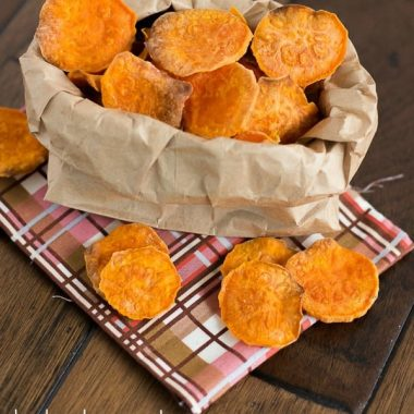 These perfectly crisp and crunchy baked sweet potato chips are an easy make at home snack that you won't be able to resist!