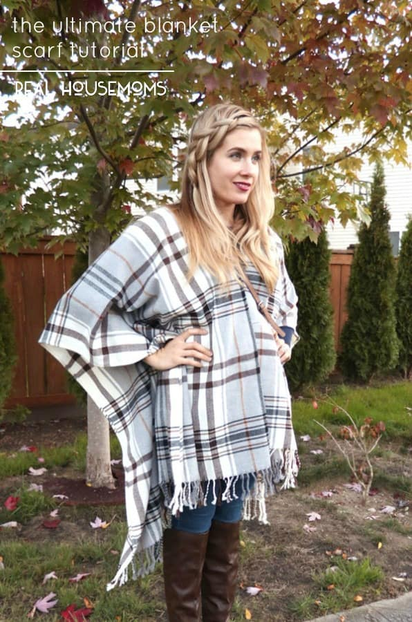 Jump on the Blanket Scarf trend and use this tutorial to make your own and work fall's coolest (and warmest) fashionable trends in 10 minutes or less!