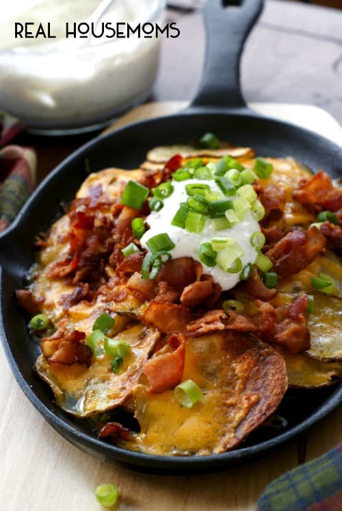 Loaded Potato Nachos are an addicting appetizer with all your favorite loaded baked potato toppings!