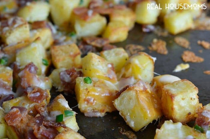 These Cheesy Bacon Oven Potatoes with jalapeno are an easy and flavorful recipe that is perfect for breakfast or brunch!