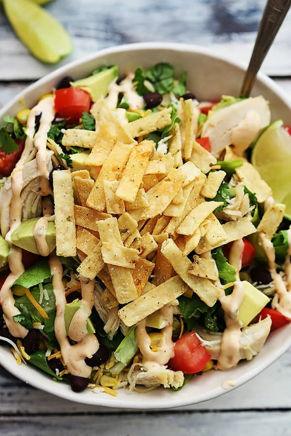 Leftover Turkey Taco Salad - Creme de la Crumb