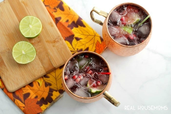 The classic Moscow Mule cocktail gets a fall flavor makeover with these POMEGRANATE CRANBERRY MOSCOW MULES!