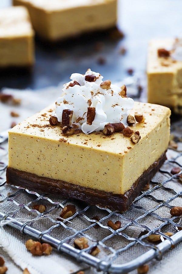Pumpkin Cheesecake Bars with Gingersnap Crust - Creme de la Crumb