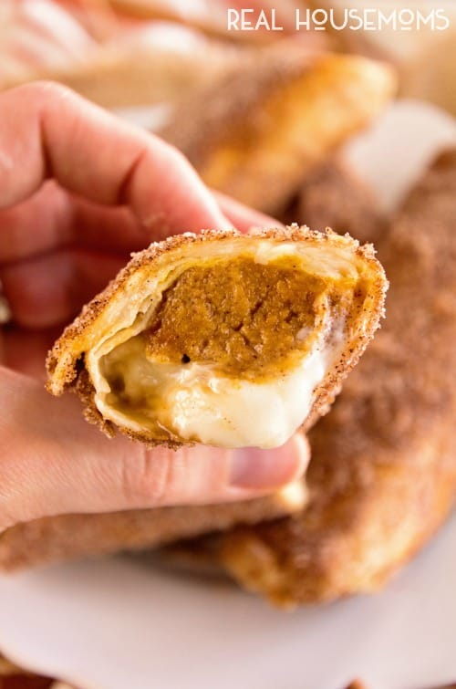 CARAMEL PUMPKIN CHEESECAKE CHIMICHANGAS are crispy tortillas stuffed with a pumpkin cheesecake filling that's to die for!
