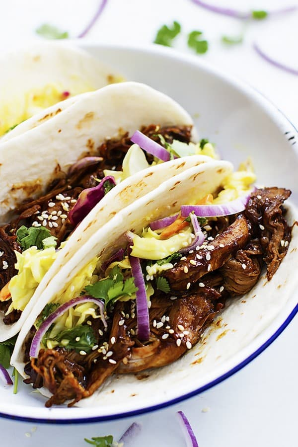 Slow Cooker Korean BBQ Pork Tacos - Creme de la Crumb