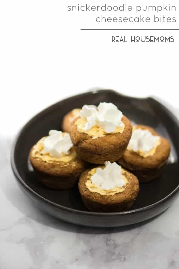 SNICKERDOODLE PUMPKIN CHEESECAKE BITES have to be one of your Thanksgiving desserts! They are the perfect little bite of no bake cheesecake and chewy cookie!