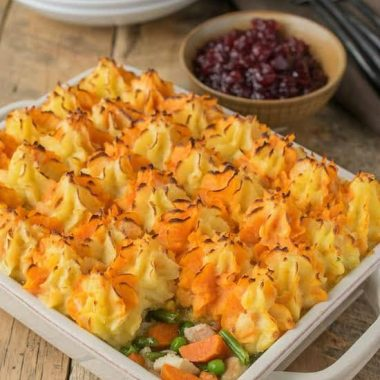 With THANKSGIVING LEFTOVERS TURKEY SHEPHERD'S PIE, you get the perfect bite in every bite because all the flavors are in one delicious layer!