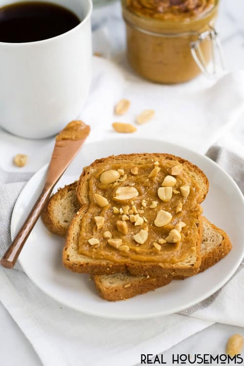 PUMPKIN SPICE PEANUT BUTTER is the best fall snack! Make it creamy or chunky and then spread it on everything!
