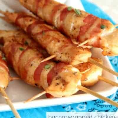 Bacon-Wrapped Chicken Skewers with Honey Mustard Dipping Sauce