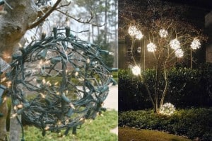 easy outdoor christmas ornaments made from chicken wire and strand lights - Outdoor Christmas Balls
