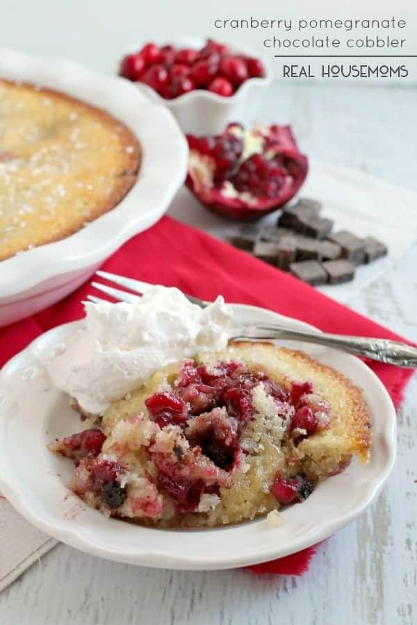 Serve a decadent yet easy festive dessert this holiday season with this Cranberry Pomegranate Chocolate Cobbler!
