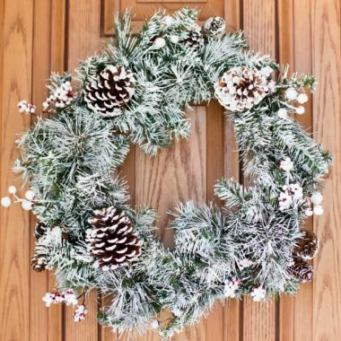 A change of season at my house means a change of wreath for my front door! Welcome winter with our easy DIY FLOCKED WREATH!