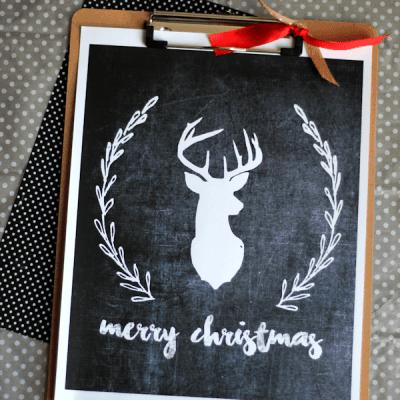 Merry Christmas Chalkboard Art