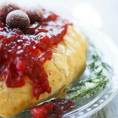 Puff Pastry Baked Brie with Spicy Cranberries