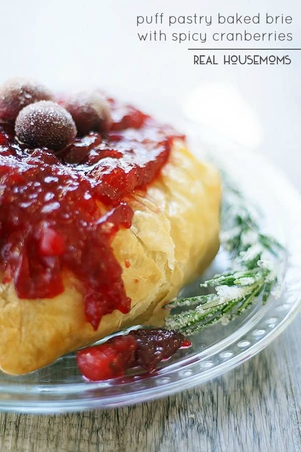 The holidays are busy enough, make entertaining easy with this elegant PUFF PASTRY BAKED BRIE WITH SPICY CRANBERRIES!