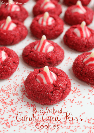 Red Velvet Candy Cane Kiss Cookies by Delightful E Made