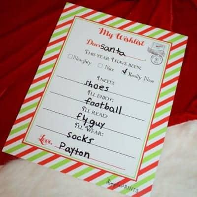Christmas Wishlist Printable Letter