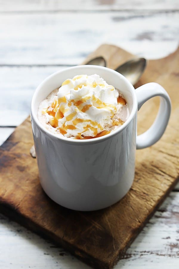 Slow Cooker Salted Caramel Hot Chocolate - Creme de la Crumb