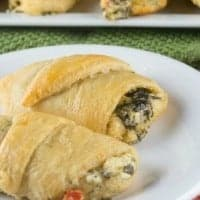 TEX MEX SPINACH ROLLS are easy, yummy, zesty appetizers with a buttery, flaky crescent roll filled with a creamy, cheesy, and spicy spinach dip!